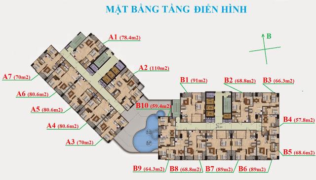 Mặt bằng tầng điển hình tại chung cư Garden Hill 99 Trần Bình